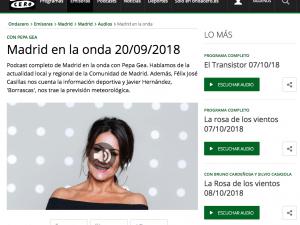 Madrid en la Onda Onda Cero Radio 20/09/2018