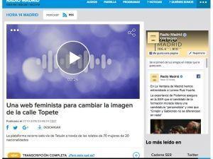 Una web feminista para cambiar la imagen de la calle Topete Hora 14, Radio Madrid, Cadena Ser, 7/10/2018