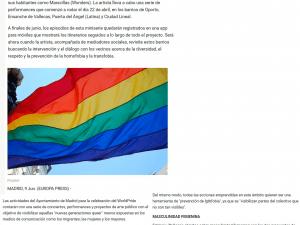 Tres proyectos de arte público intentan visibilizar la situación de la comunidad LGTBQ en Madrid 20minutos 16/06/2017